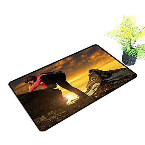 (gmnalahome Large Door Mats Shoes Scraper Girl on Rock,in The Background Mount Matterhorn at Sunset Swiss Alps,Europe Use for Front Door Entrance W39 x H19 INCH)