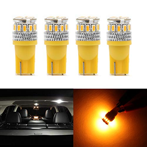 Dantoo 4pcs Super Bright T10 LED Bulbs 194 168 2825 175 192 W5W Wedge Dome Lights 3014 Chipset 18 SMD Amber Yellow Light Lamp for for Car Interior Map License Plate Trunk Parking Light ()