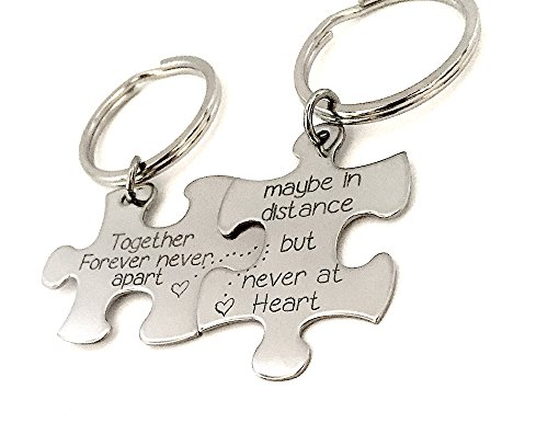 Custom Handstamped Puzzle Piece Keychain's - Together Forever - Couple's Keychains - Long Distance - Rings Together Forever
