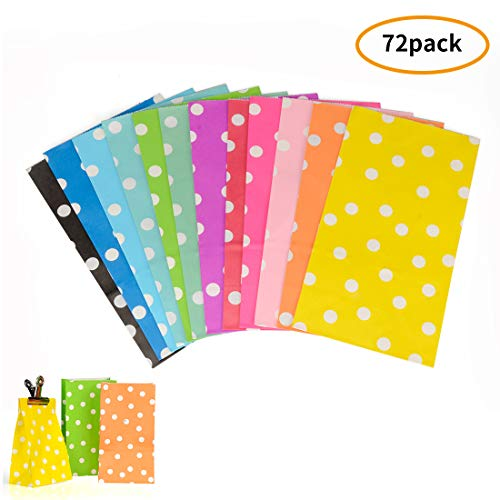 Colored Paper Bags (Party Favor Bags, 72 Pack Party Bags, Gift Dot Paper Bags for Birthday, Tea Party, Wedding and Party Celebrations 9.4 x 5.1 x 3.1 Inch, 12)