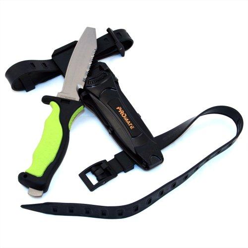 Promate Blunt Tip Titanium Dive Knife - KF595, Yellow, Blunt (Knife Tip Titanium Blunt)