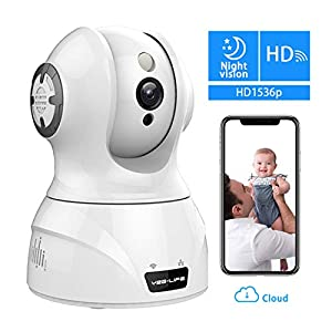 YZG-LIFE Wireless Indoor IP Camera, 1536p HD Dome Camera Home Security Surveillance System Pan/Tilt/Zoom Two-Way Audio Night Vision Motion Motion Tracker Sound Detection Free Cloud Service. by YZG-LIFE
