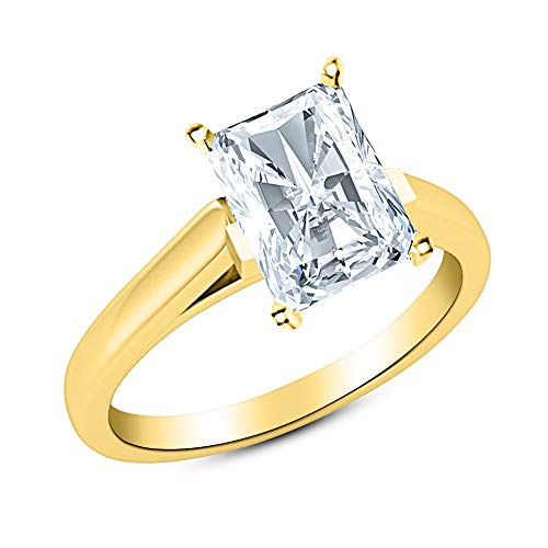 1.5 Ct Radiant Cut Cathedral Solitaire Diamond Engagement Ring 14K Yellow Gold (G Color VS2 Clarity) ()