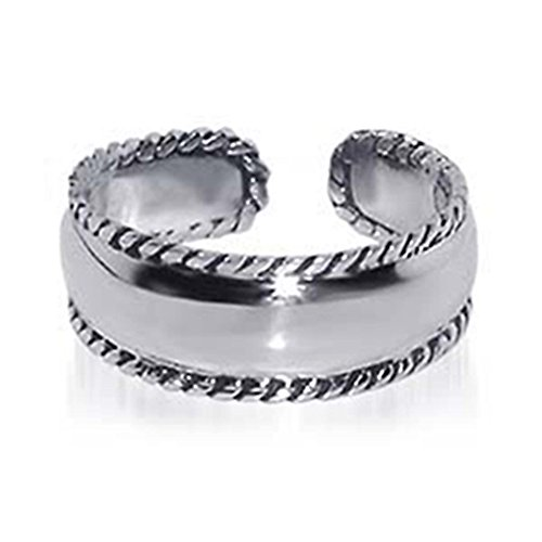 (Sterling Silver 7MM Braided Rope Adjustable Toe Ring)