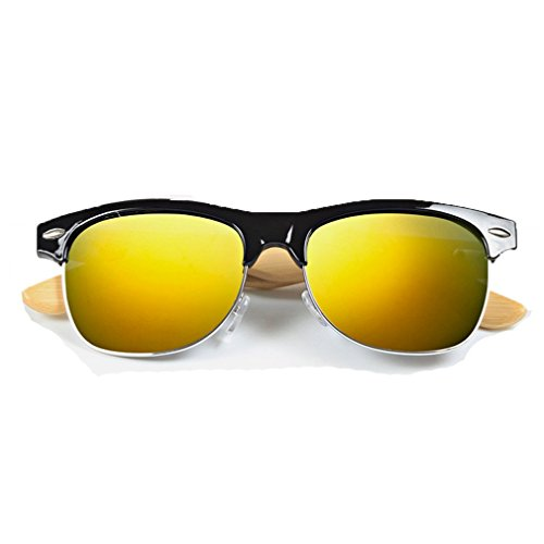 LOMOL Fashion Wooden Frame UV Protection Dazzle Color Lens Wayfarer - Low To Sunglasses Sell Priced