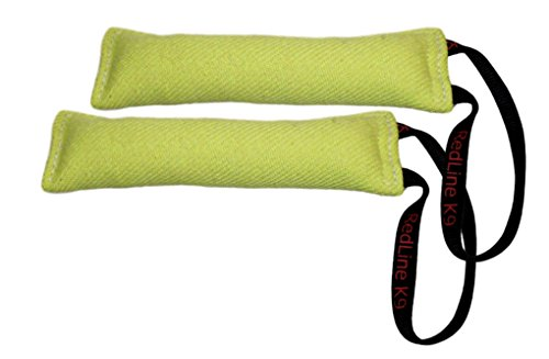 Lime Green Bundle of 2 French Linen Dog Tug Toy (3″ X 10″) 1 Handles Redline K9