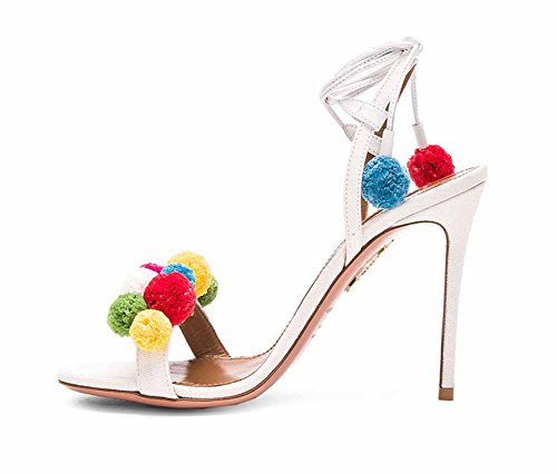 da peluche Summer zeppa con Sandali Bianca Strap Band Heel Ankle donna Strap Band 2018 in High Pumps New 1qI81Wnt