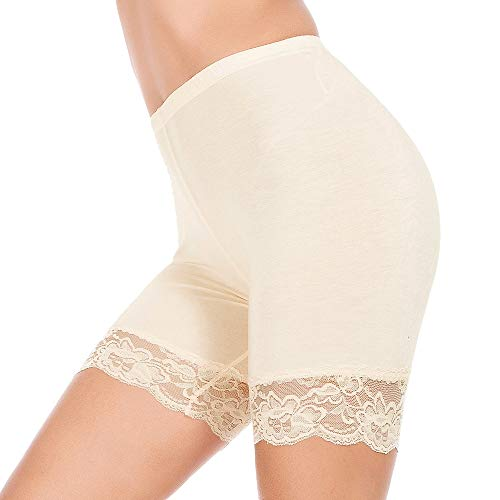 Slip Shorts for Women Short Leggings Mid Thigh Legging Plus Size Lace Undershorts (Lace Edge Beige, XXX-Large (US 22))