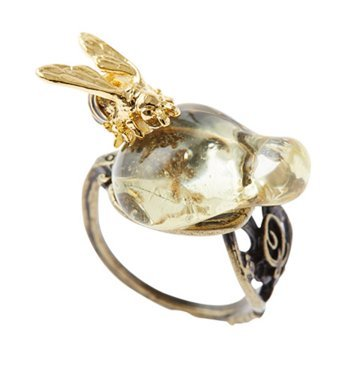 [Q pot bee To honey spoon ring Size 9 (US 5.25)New From Japan] (Cute Honey Bee Costumes)