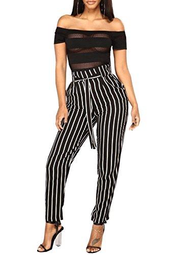 Casual Coulisse Donna Strappy Lunga Con Classiche Stripe Leggero Pants Moda Donne High Nero Tasche Elegante Waist Pantalone Unique Elastico OORqZ0