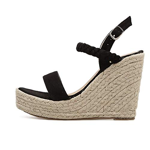 DENER❤ Women Ladies Platform Wedge Sandals, Cane Hemp Straps Arch Support Wide Width Comfortable Dressy Shoes at Amazon Womens Clothing store: