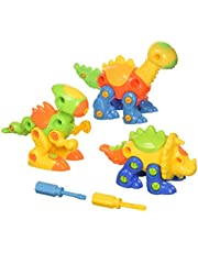 Dinosaur Take Apart Toy Set for Kids by Dimple - Premium Pack of 3 Educational Build Your Own Dino Toys, (106 Pieces) Top Construction Toy for Boys Girls & Toddlers, Great for Children