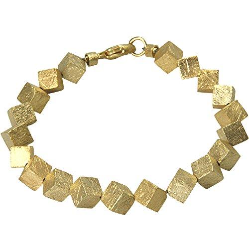 skielka designschmuck Bracelet en argent 925cubes 6mm mat glacé () plaqué or, Bracelet Cube-orfèvre travail haute qualité