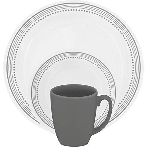 (Mystic Gray 16-Piece Dinnerware Set 4 each: 10-1/4