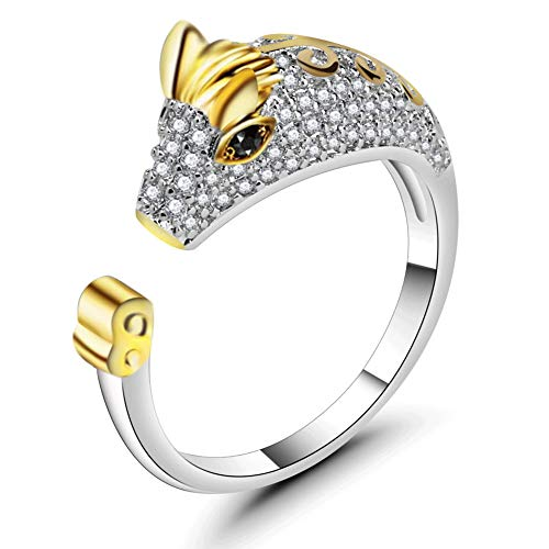 - ATDMEI Horse Rings Sterling Silver Gifts for Women Gold Zircon Cuff Adjustable Chinese Zodiac Jewelry