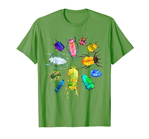 Fun Cute Bugs T-Shirt Insects Beetles Kids Boys Girls Adults