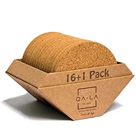 Natural cork coasters for drinks – Premium pack of 16 in Gift Box holder, rounded-edge, absorbent, 100% eco-friendly, heat-resistant, protective, durable, ideal for glasses, cups & mugs – by OALA