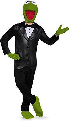 Kermit Deluxe Adult Costumes (Disney Disguise Men's Kermit Deluxe Adult Costume, Black/Green, X-Large)