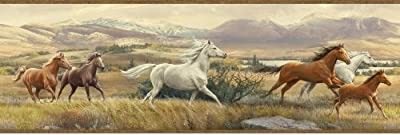 Chesapeake HTM48482B Swift Sand Open Range Horses Portrait Wallpaper Border