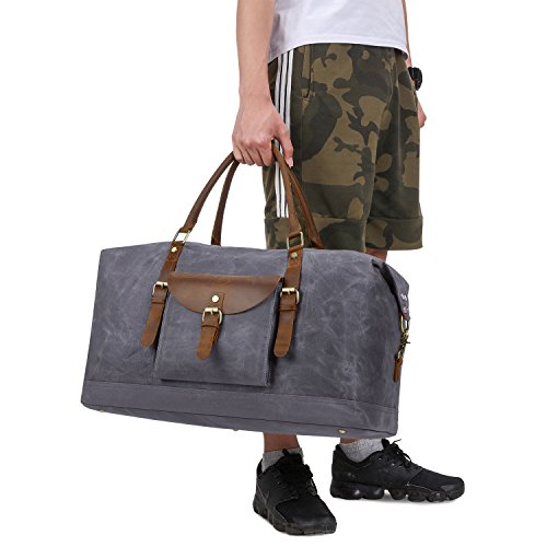 Plambag Oversized Duffel Bag, Waterproof Canvas Leather Trim Overnight Luggage Bag(Grey) by Plambag (Image #7)