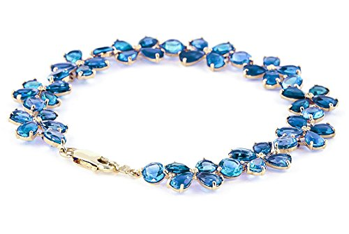 QP joailliers Bracelet en or 9ct Topaze Bleu naturel, 20.70CT Coupe Poire-1744y