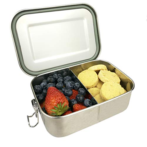 UPTRUST Leak Proof Stainless Steel Bento Lunch container For Kids,Bento Lunch Box for Adults with removable divider, 2 or 1 Compartment Packing Box for Meal Fruit Snack, Dishwasher Safe (27OZ/800ML)