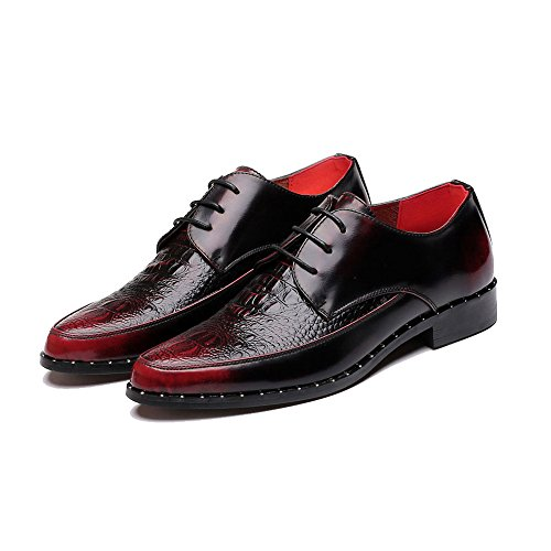 Zapatos de Hombres Slip Tobillo Wrinkle Oxfords Low Crocodile Top Superiores Up Lace para de Cuero ons Mocasines Vestir xAwYE5R