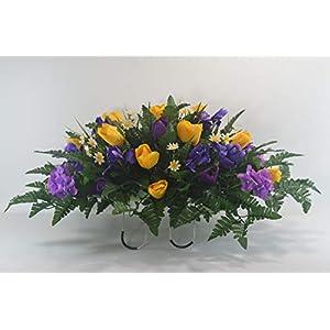 R52 Spring Cemetery Flower Arrangement, Easter Saddle, Headstone Saddle, Grave, Tombstone Arrangement, Cemetery Flowers 3