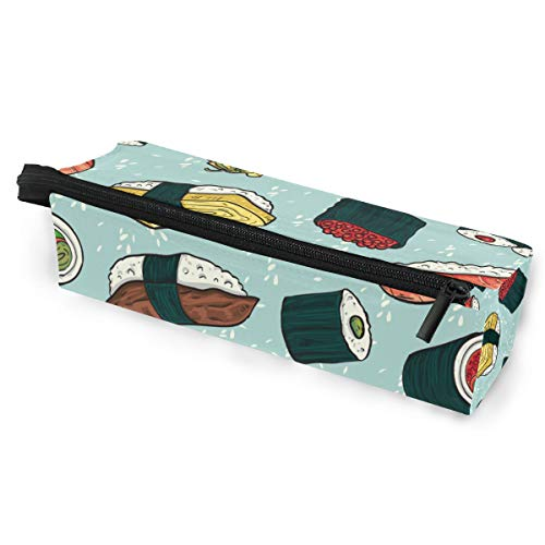 - Pen Case Pencil Bag Sunglasses Food Sushi Seamless Pattern Holder Cosmetic Pouch with Zipper Compartments