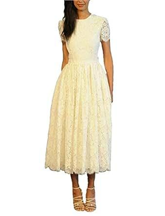 Dreamdress Women's Lace Beach Spring Tulle Short Wedding Dress Party Ball