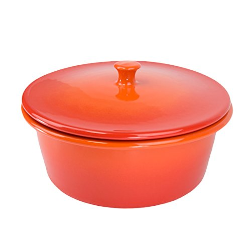 Orange Sticks Glazed (American Bakeware 3 qts Round Covered Casserole - Non Stick Ceramic Stoneware - Heat Resistant to 400 °F - No Metals or other Harmful Materials - Safe for Oven, Microwave, Dishwasher - Made in USA)