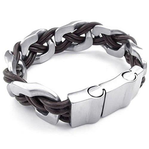 Hit Girl Costume Uk (Epinki Stainless Steel Bracelet, Mens Weave Circle Bracelet Silver Brown Length 9 Inch)