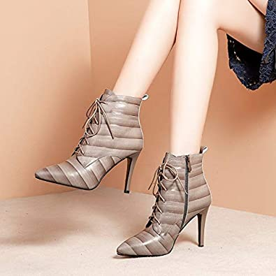 HOESCZS Boots Womens Womens Booties Autumn and Winter New Pointed Womens Boots Stiletto Heels with Leather Martin Boots
