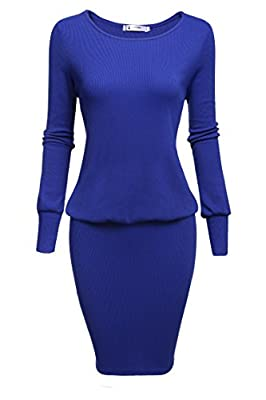 ACEVOG Sexy Women's O-Neck Long Sleeve Bodycon Pencil Midi Dress (Large, Blue)