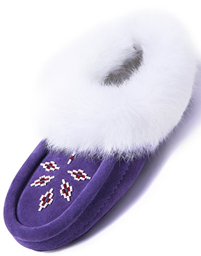 Women Moccasin Slippers Indoor,Leather Suede,Soft Sole,Fleece,Rabbit Fur,Slip On House Shoes,Purple 5 B(M) US for $<!--$37.99-->