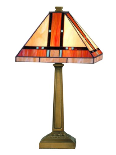 Fine Art Lamps Bronze Table Lamp (Dale Tiffany TT10090 Mission Table Lamp, Mica Bronze and Art Glass Shade)