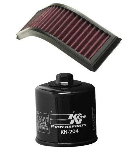K&N Motorcycle Air Filter + Oil Filter Combo 04-06 Kawasaki ZX1000 Ninja ZX-10R KA-1004 + KN-204