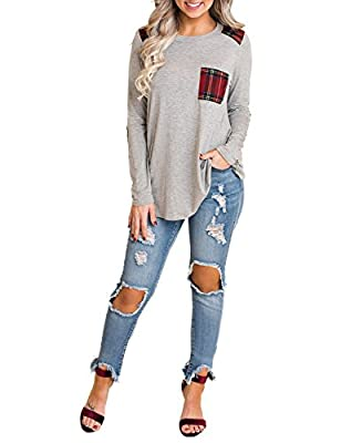 Blooming Jelly Womens Long Sleeve Elbow Patch Shirt Plaid Color Block Tops Pocket Knit Tee