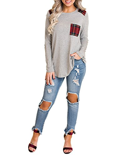 Patch Long Sleeve Tee - Blooming Jelly Womens Long Sleeve Elbow Patch Shirt Plaid Color Block Tops Pocket Knit Tee (Medium,Grey)