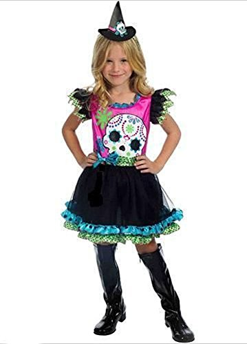 Skully Sweetie Costume Day of The Dead Witch M 8-10 Girl Skeleton Dress Pink