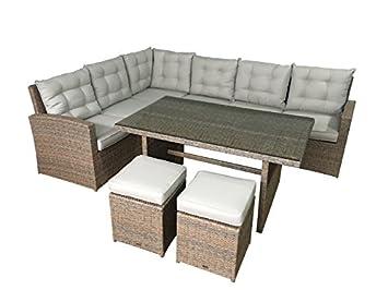 Amazonde Garten Lounge La Palma In Natur Sitzecke Mit Esstisch