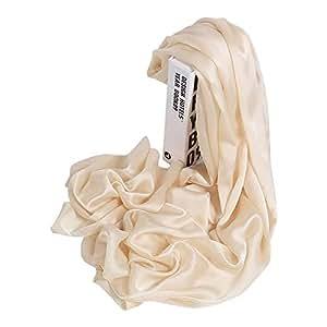 LEEQ Womens Solid Color 100% Mulberry Silk Head Scarf Evening Wrap Wedding Shawl Beige