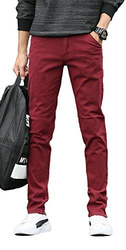 - Plaid&Plain Men's Skinny Stretchy Khaki Pants Colored Pants Slim Fit Slacks Tapered Trousers 819 Burgundy 33X28