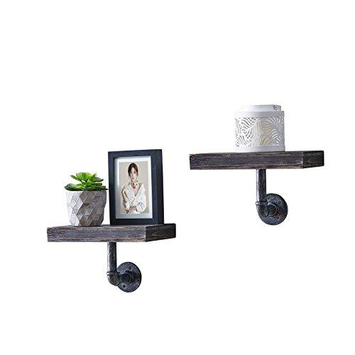 Danya B. Floating Pipe Industrial Rustic Shelves - Wall Mount - - Ebony - (Set of 2) (Floating Modern Decorating Ideas Shelves)