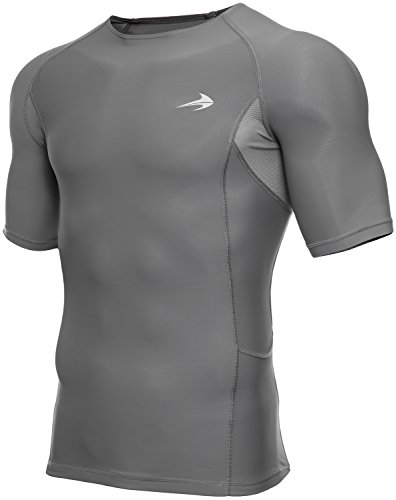 CompressionZ Men's Short Sleeve Compression Shirt - Athletic Base Layer for Fitness, Cycling, Training, Workout, Tactical Sports Wear - Cool Dry Running Shirt - Thermal Rash Guard Protection