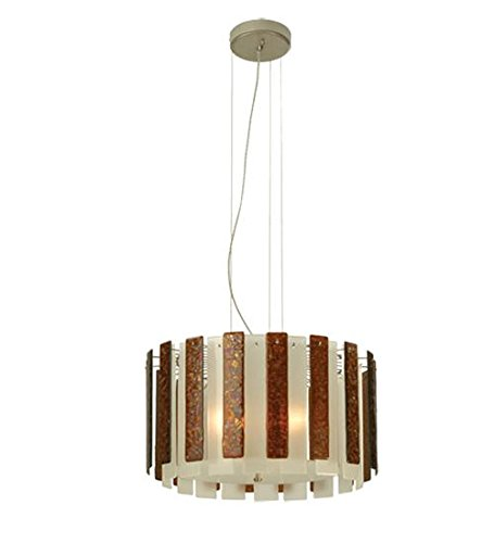 Meyda Tiffany Custom Lighting 81710 Cascata 3-Light Pendant, Brushed Nickel Finish with Frosted Clear and Amber Fused Art Glass