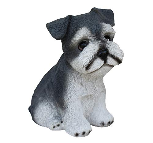 TABOR TOOLS Dog Ornament, Sitting Grey Schnautzer Terrier, Terrace Figurine, Miniature Statue, Cute Patio Puppy Figure, Outdoor Decor, Sculpture for Your Garden, Home or Office. DM418A. (Grey Dog)