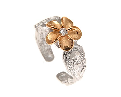 (925 sterling silver rhodium plated pink rose gold plated Hawaiian plumeria cz scroll cut out edge toe ring)