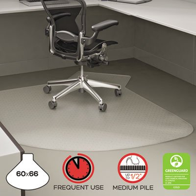 SuperMat Frequent Use Chair Mat for Medium Pile Carpet, 60 x 66 w/Lip, Clear, Sold as 1 Each by Deflecto