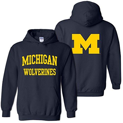 Football Hoodie Michigan - AH46 - Michigan Wolverines Front and Back Print Hoodie - Large - Navy